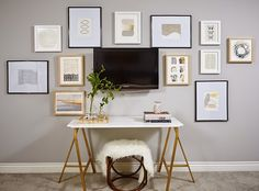 Abby M. Interiors: master bedroom reveal, gallery wall around the TV, custom marble table, Ikea hack
