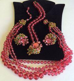 Rare Vintage Miriam Haskell Frank Hess Necklace Bracelet & Earrings Set~Signed #MiriamHaskell