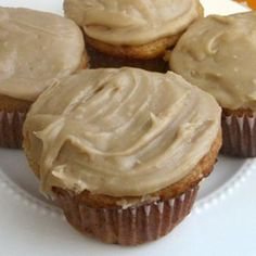 Pumpkin Cupcakes with Pumpkin Cream Cheese Frosting; use sugar free yellow cake mix