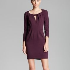 FCUK Long Sleeve Dress Wrap yourself in luxury with this cranberry raspberry colored long sleeve dress with a peek-a-boo cutout at front. 80% rayon, 15% nylon, 5% spandex for a stretchy and gorgeously fitting style. French Connection Dresses Long Sleeve