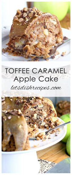 Toffee Caramel Apple Bundt Cake Recipe | This fall bundt cake is loaded with fresh apples, pecans and sweet toffee bits, then topped off with a homemade caramel glaze. The perfect fall dessert!