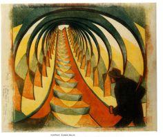 CYRIL POWER The Escalator, c. 1930 Linocut