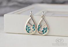 Sterling Silver Flower Enamel Earrings by NFergusonJewellery