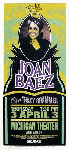 Original concert poster for Joan Baez at The Michigan Theatre in Ann Arbor, MI in x inch silkscreen. Art By Michigan artist Mark Arminski. Pop Posters, Band Posters, Concert Posters, Music Posters, Cd Cover Art, Cool Album Covers, Book Covers, Hippie Posters, Cd Art