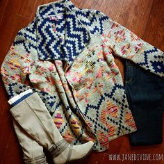 Fall Fashion, Fall Outfit, Good & Plenty Navy Aztec & Chevron Cardigan, Dark Wash Skinny Jeans, City Slicker Boots & Lace-Trimmed Boot Cuffs by Jane Divine Boutique www.janedivine.com