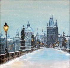 Charles Bridge Prag, Acryl 30x30cm Canvas