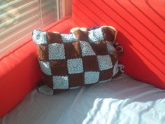 Hand crocheted checked cushion cover by KranzGeriShop on Etsy