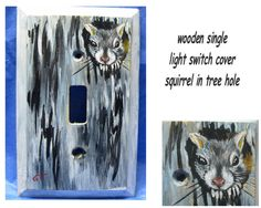 Squirrel in tree hole light switch cover by CritterArtDelights, $15.50