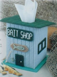 Bait Shop Tissue Box Cover by cecrafts on Etsy, $17.00