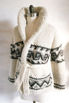 Image of Chunky Knit Wool Mexican Sweater, Wave Pattern