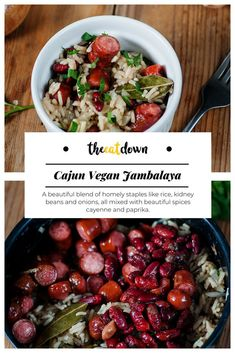 This Cajun vegan jambalaya is a beautiful blend of homely staples like rice, kidney beans and onions, all mixed with beautiful spices cayenne and paprika. Vegan Jambalaya, Jambalaya Recipe, Gourmet Recipes, Vegetarian Recipes, Healthy Recipes, Dinner Recipes, Dinner Entrees, Dinner Ideas, Clean Eating