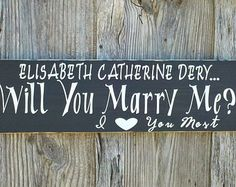 Will You Marry Me? Customizable Wood Sign Personalized Wedding Sign Rustic Hand Painted Engagement Sign