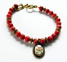 Beautiful Bracelet-Red Jasper Stone Beads-Porcelain Floral Charm by rosaliascharm on Etsy