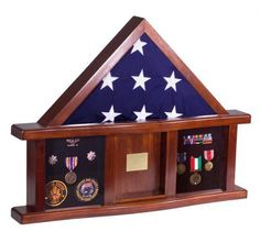 Classic Display Case Military Medal Shadow Box Burial Flag Black Felt Collect