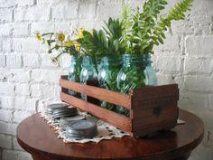 Crate and Vintage Blue Mason Jars - Repurposed wood Crate and Ball Quart Jars Zinc Lids - Centerpiece - Wedding