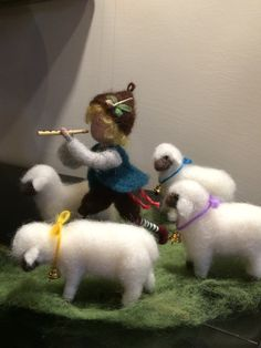Needle felted doll Waldorf inspired Shepherd with pipe and sheep Wool Soft sculpture Art doll doll miniature Gift Nature