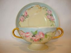 Delicate Limoges Porcelain Bouillon Pedestal Cup and Saucer ~ Hand Painted with Pink Roses ~ Haviland France 1894-1931
