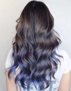 Pastel Blue Balayage For Brown Hair