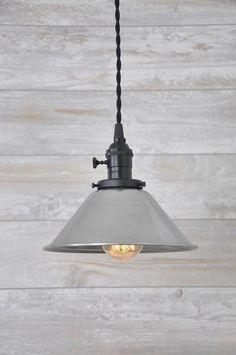 Unfinished Steel Flat Black Industrial Pendant Light Fixture Rustic Vintage