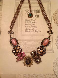 Vintage Pink Rhinestone Brooch Statement Necklace $25