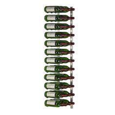 36 Bottle Wall Mounted Metal Hanging Wine Rack (3 Deep - Platinum)