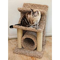 """New Cat Condos Cat Scratch and Sleep Furniture 33 inches high x 20 inches wide x 20 inches long, tunnel diameter is 9-9 1/2 """" & the tunnel does go all the way thru! The perch is 12"""" from the base and the second perch is 30"""" to the top. This cat gym tree has three levels for cat to play on, & 4 scratching posts for cat to scratch. #$79.99 with FREE shipping! Good reviews/Good price/Good size to tuck in room."""