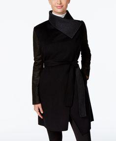 Vera Wang Leather-Sleeve Wrap Coat