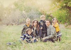 Family portraits with gray, olive and mustard color scheme