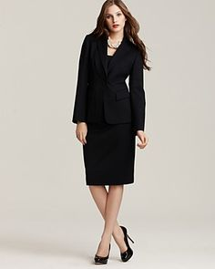 Anne Klein New York One-Button Short Jacket and Basic Pencil Skirt... Having a tailored, well-fitted suit makes you look put together and prepared! Remember to keep it modest and professional!