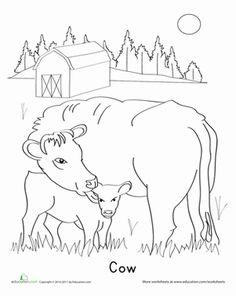 Calf Worksheet Education Com Farm Animal Coloring Pages Cow Coloring Pages Animal Coloring Pages