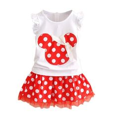2 Pcs/Set Minnie Mouse Princess Dress Birthday Party Outfit Girls Dresses Red Do  | eBay