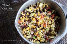Recipe for a fantastic and less sweet version of Texas Caviar. This is the one appetizer our neighborhood friends all make that never has leftovers!