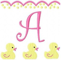 INSTANT DOWNLOAD Baby Duckies Monogram Machine Embroidery Font Set