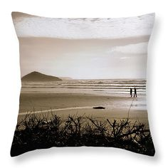 Sand and Silhouettes Throw Pillow by Micki Findlay - TheSingingPhotographer.com - various sizes, home decor, cushion, tofino, long beach, ocean, beach decor, art, beige, sea