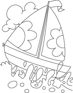 A boat in deep water coloring page