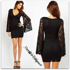 COWGIRL GYPSY DRESS Lace Long Bell Sleeve Fitted Dress