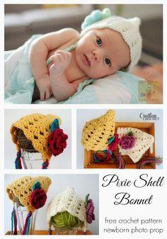 Pixie Shell baby bonnet, newborn - 3 months, free crochet pattern