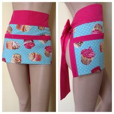 Women's Waitress Apron Server Apron Turquoise Cupcake