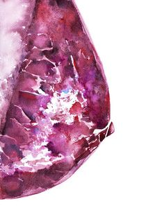 Pink Mammogram Watercolor Print Breast Art Print by LyonRoad