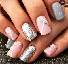 Cute Acrylic Nails, Acrylic Nail Designs, Gel Nails, Gradient Nails, Silver Nail Designs, Gel Polish Designs, Shellac Nail Art, Nail Art Toes, Pink Toe Nails