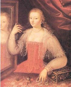 """Early 1600s -- French Corset  """"Woman At Her Toilet"""""""