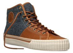 PF Flyers - Center Hi in Grey Wool and Brown Leather New Shoes, Men's Shoes, Botines Casual, Pf Flyers, Modern Mens Fashion, Sneaker Store, Fresh Shoes, Well Dressed Men, Sock Shoes