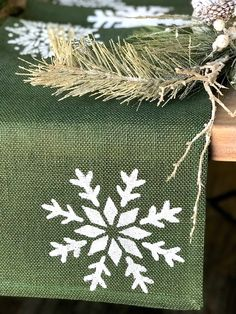 Rustic Christmas Table Runner Green Burlap with Tossed White Snowflakes, Country Farmhouse Decor, Holliday Linens , Custom Listing