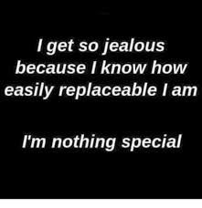 Image result for i get jealous easily because im replaceable