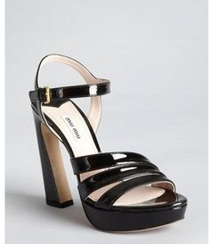 Black Patent Leather Twist Platform Sandals on shopstyle.com