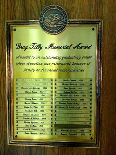 Tilly award plaque