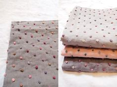Incredible textured and dotted linen Sophie Digard handmade baby blanket by MAKIÉ