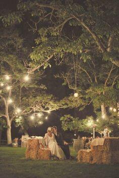 Sunset wedding and night reception.