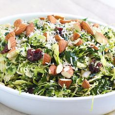 Meal Prep This shredded kale and brussels sprout salad is the perfect salad for special meals! It's filled with cranberries, marinated onions, almonds and pecorino cheese. Kale Salad Recipes, Sprout Recipes, Vegetarian Recipes, Healthy Recipes, Tuna Recipes, French Salad Recipes, Kale Salads, Healthy Salads, Gourmet