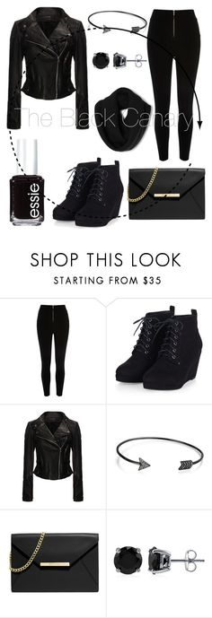 """""""Dress like the Black Canary from the Arrow!"""" by plum-perfect ❤ liked on Polyvore featuring River Island, Bling Jewelry, MICHAEL Michael Kors, BERRICLE, Essie, women's clothing, women's fashion, women, female and woman"""